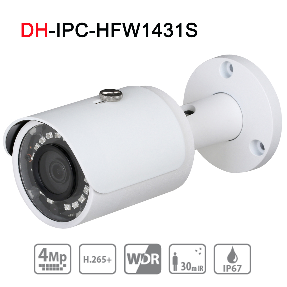 4mp Bullet Camera IPC-HFW1431S WDR Day/ Night infrared CCTV POE Camera Support IP67 Waterproof Security Camera System brand 4mp bullet camera ipc hfw1431s wdr day night infrared cctv poe camera support ip67 waterproof security camera system