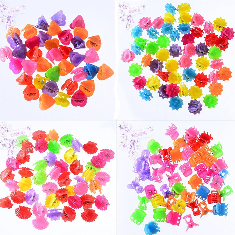30 Pcs New Fashion Baby Girls Small Hair Claw Cute Candy Color Flower Hair Jaw Clip Children Hairpin Hair Accessories Wholesale