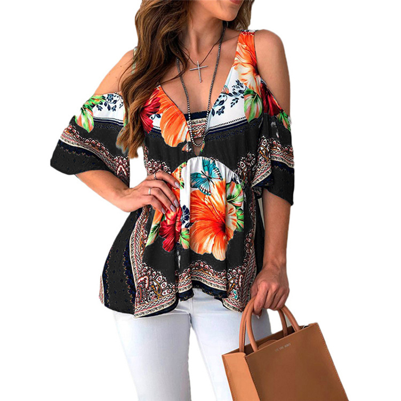 Summer Women Cold Shoulder Blouse Shirt Sexy V Neck Floral Printed Loose Boho Shirt Plus Size Jumper Blusas Beach Top SJ1633U