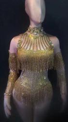 Блестящая золотая кисточка со стразами, боди для женщин, наряд на день рождения, одежда для ночного клуба, комбинезон для танцев, празднична...