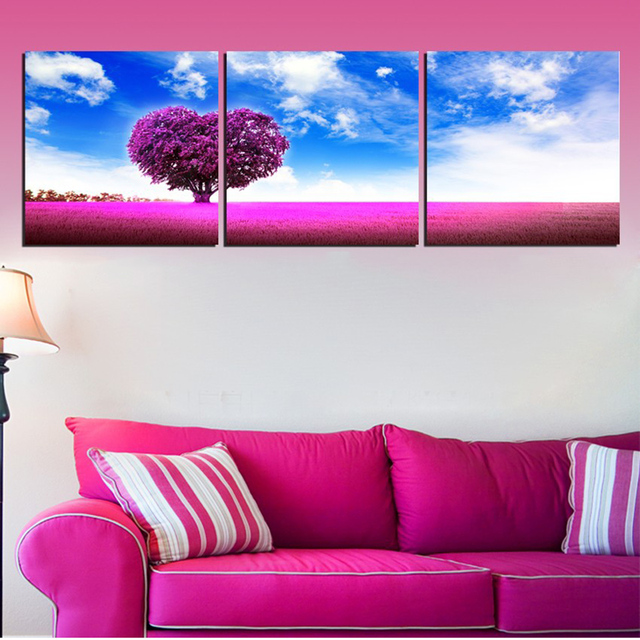 Framed Abstract Modern Home Decor Canvas 3 Pieces Purple Love Heart ...