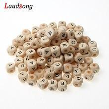 50 pçs 10/12mm misto quadrado letra contas alfabeto natural contas de madeira para fazer jóias colar artesanal chupeta corrente diy