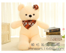 small size lovely beige teddy bear toy cute plush scraf and bow teddy bear doll gift about 60cm