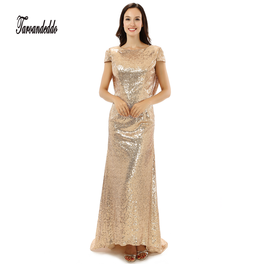 Gold bridesmaid dresses long sleeve promotion shop for promotional gold sequin short sleeves high neck mermaid bridesmaid dresses long party dress 2017 vestido madrinha casamento ombrellifo Image collections