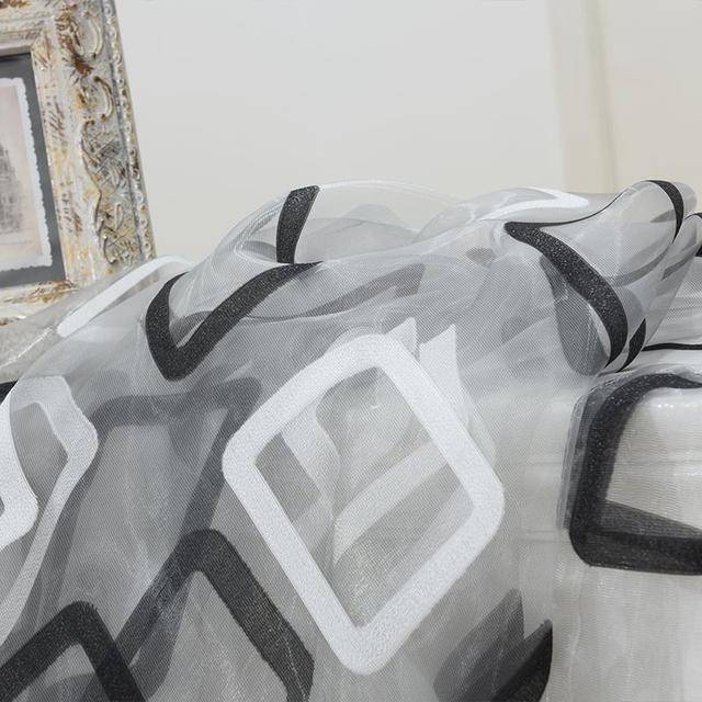 Topfinel Moderna Plaid Nero di Tulle per la Finestra Tende Trasparenti Complementi Arredo Casa per la Cucina Camera Da Letto Soggiorno Tenda per la Finestra del Pannello