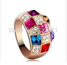 Fashion Free Shipping Wholesales Hot New Parttern Fashion  Colorful crystal Big Rings Jewelry Accessories