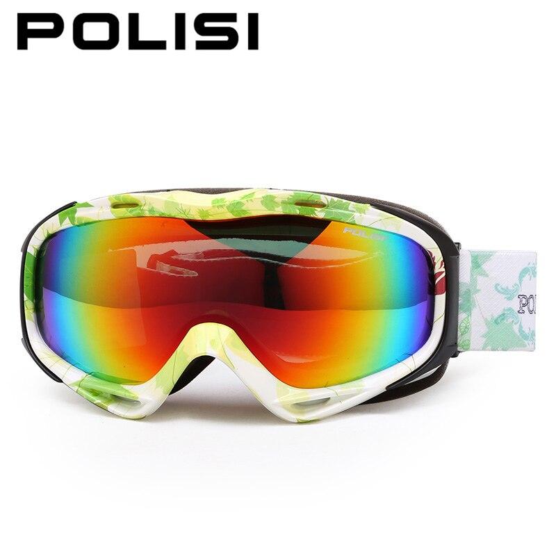 POLISI extérieur Ski neige lunettes polarisées Double couche lentille Snowboard neige lunettes hommes femmes Anti-buée motoneige Ski lunettes