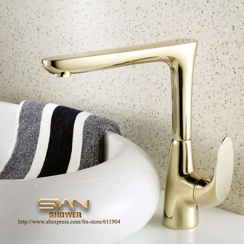 ФОТО Luxury Gold Color Bathroom Faucet Basin Kitchen Sink Faucets Mixer Taps 2270761