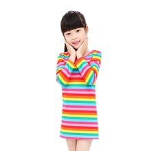 2018 new Girl dress Rainbow girls print brand children s clothing spring new princess dress for