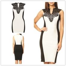 2017 pour Dames Mode Sexy dentelle blanc et noir Patchwork crayon Dress V Cou Sans Manches Printemps Été Femme Robe Nouveau arrivées