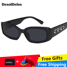 Small Rectangle Sunglasses Women 2019 Brand Design Vintage Sun glasses For Men Eyewear UV400 oculos Gafas De Sol With Box все цены