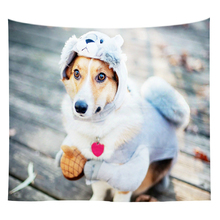 Cute Pet Print Tapestry Wall Hanging Animal Art Tapestry Sofa Table Bed Cover Home Decor Polyester Beach Towel Couch Blanket beach window view print tapestry wall hanging art
