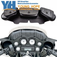 Black Motorcycle Windshield Bag Saddlemen Fairing Pouch Fits fits for Harley FLH FLT