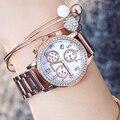 Женские Часы GUOU  модные женские часы из нержавеющей стали  розовое золото  роскошные женские часы с бриллиантами  relogio feminino