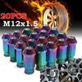20 Pcs/Set Aluminum M12X1.5 50mm Open Extended Tuner Lug Nuts Wheels Rims Colorful