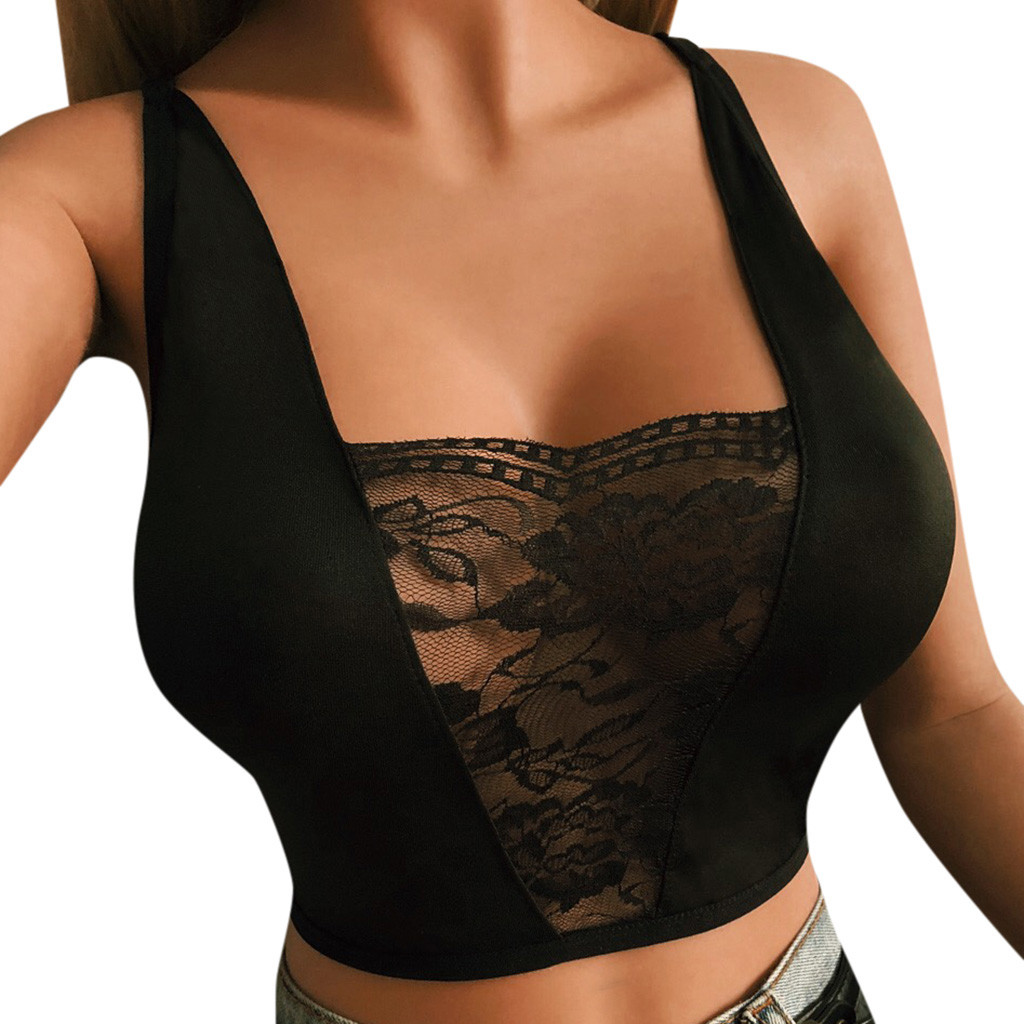 <font><b>Sexy</b></font> Women Hollow Out Elastic Cage Bra Bandage Strappy Halter Bra Bustier <font><b>Crop</b></font> <font><b>Top</b></font> Floral Cami Female Padded Tank Black White image