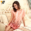 XMWEIPING Top Sale Women Summer Chemise Femme Night Shirt Nightgown For Home Suit Satin Silk Chemise Home Clothing For Sleep
