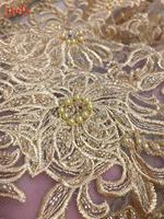 Light gold embroidery lace mesh cloth high grade embroidery beads cloth used for wedding dress fashion