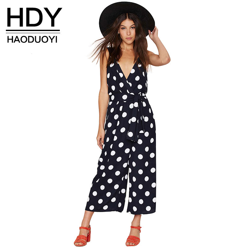 HDY Women Autumn Sexy v-neck Backless Jumpsuits Dot Print Waisted Lady Rompers for wholesale and free shipping haoduoyi