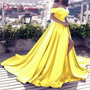 Image 3 - Heißer Verkauf 2020 Rosa Abendkleider Sexy V ausschnitt Weg Von der Schulter Satin EINE Linie Elegante Lange Prom Party Kleid vestido de Festa Curto