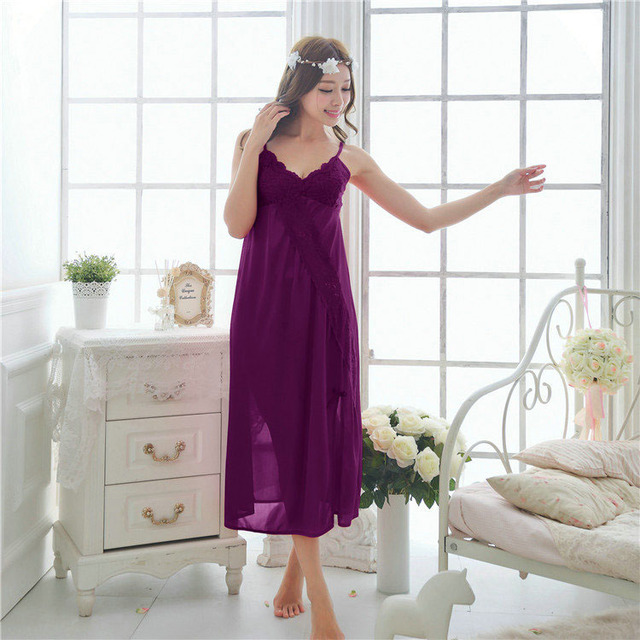 Siriusha Long nightgown female sexy silk lace like long winter red black and white big code