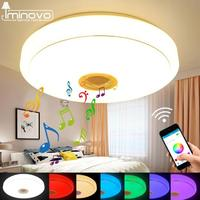 Modern Bluetooth Speaker Ceiling Light Remote Control RGB LED Music Lamp Dimmable Living Room Lighting Fixture