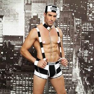 Image 5 - JSY メンズロールプレイ衣装ホットエロセクシーな囚人コスプレファンシーセクシーな男性ハロウィン衣装囚人制服 6615