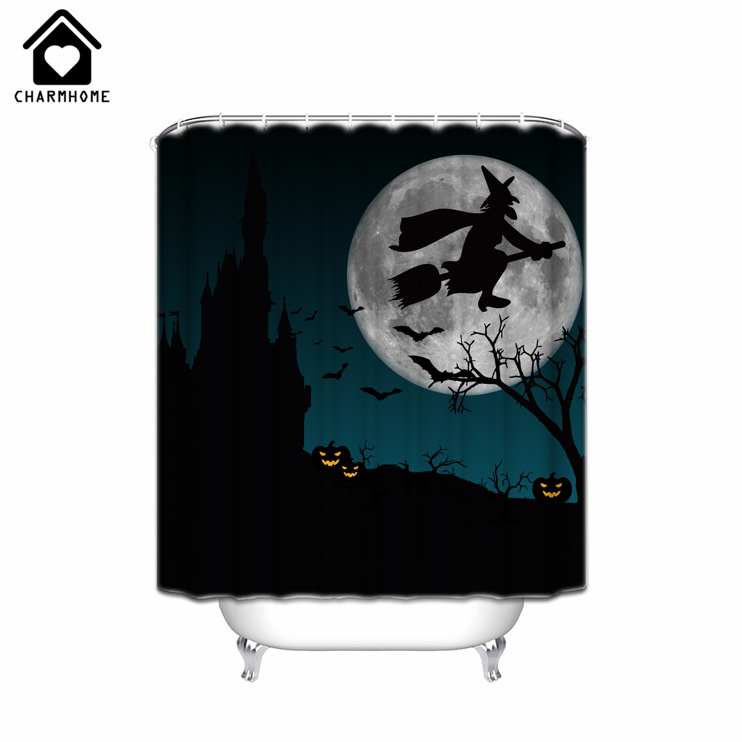 Halloween shower curtain - Charmhome 2017 Hot Sale Fabric Polyester Halloween Shower Curtain Witch Waterproof Custom Made Bath Curtain With