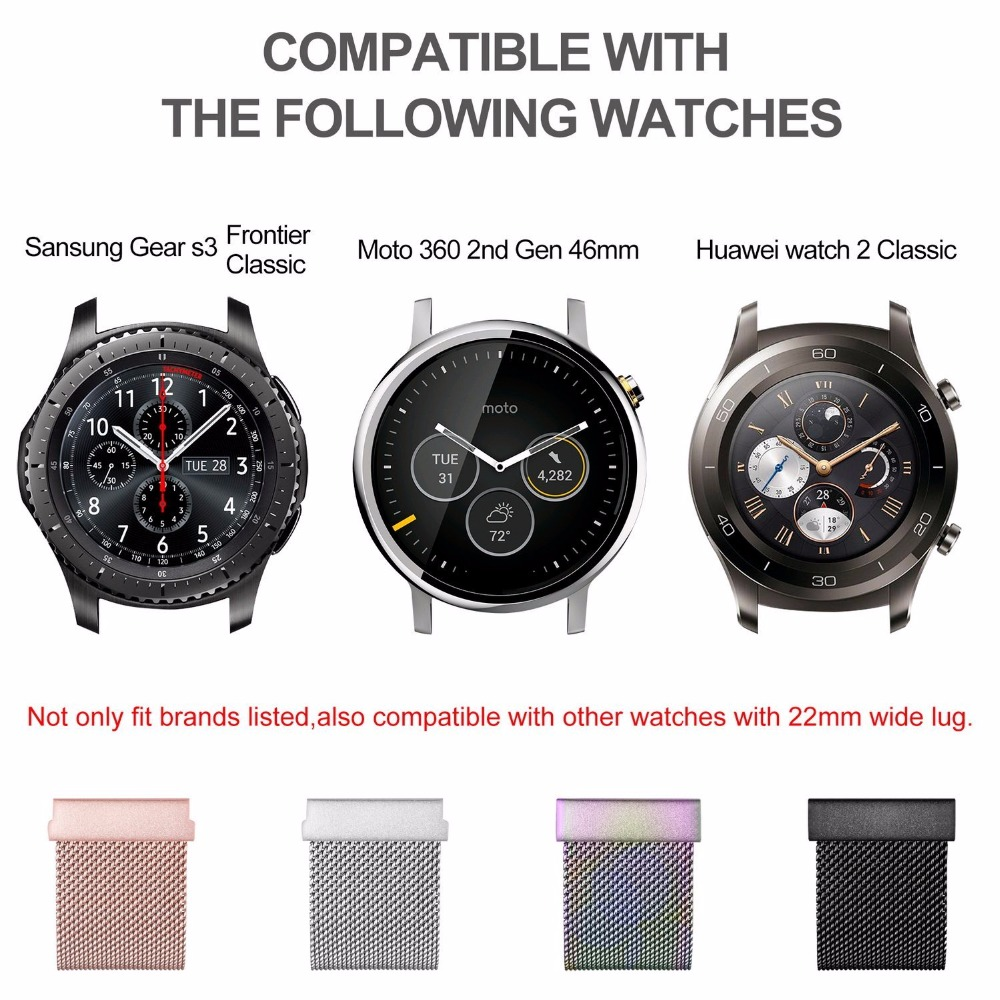 22mm/20mm Milanese Loop Watch Band Gear S2 S3 Strap Stainless Steel Band For Samsung Gear S3 Smart Watch Band Magnetic Wholsale