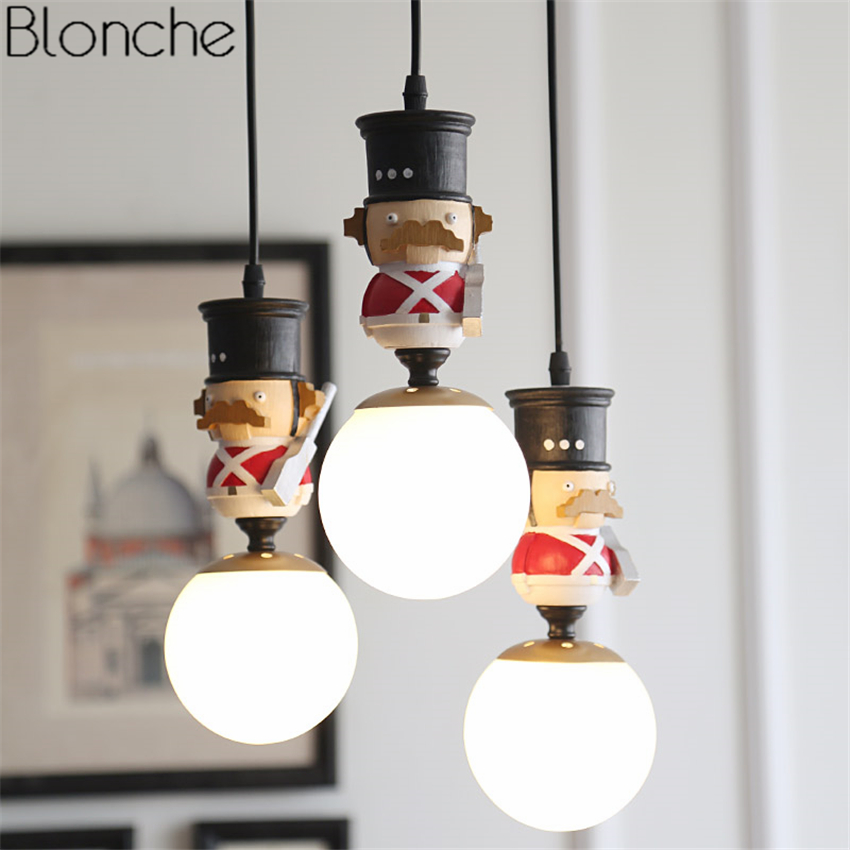 Nordic British Soldiers Pendant Lights Glass Ball Led Hanging Lamp - Kids bedroom light fixtures