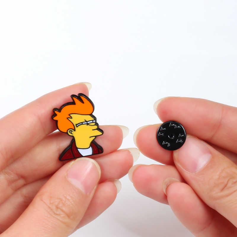 Shshd Kartun Komik Futurama Philip J. goreng Bros Logam Keras Pin Enamel Anak Lucu Ransel Lencana Jaket Kerah Pin Pria Perhiasan