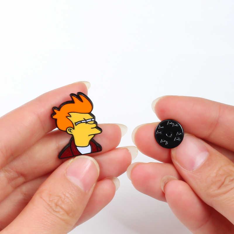 shshd Cartoon Comic Futurama Philip J. Fry Brooch Metal Hard Enamel Pins Funny Kid Bakpack Badges Jackets Lapel Pin Men Jewelry