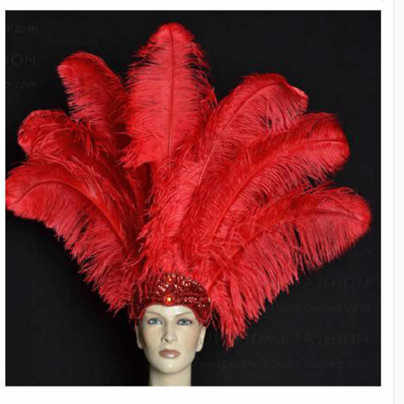 Wholesale Red Ostrich Feathers 15-75CM 6-30Inch DIY Carnival Party Wedding Dress Decorations Natural Red Ostrich Feather plumes