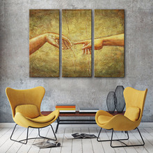 Drop Shipping Canvas Paintings Modular Wall Pictures 3-delige ingelijste creatie van Adam abstracte woonaccessoires