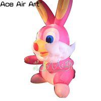 Красивый розовый надувной маленький кролик, надувной кролик для пасхального украшения