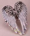 Alas de ángel anillo de estiramiento mujeres biker bling joyas antiguas de oro y plata chapada W cristal al por mayor de dropshipping