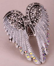 Angel wings stretch ring women biker bling jewelry antique gold & silver plated W crystal wholesale dropshipping