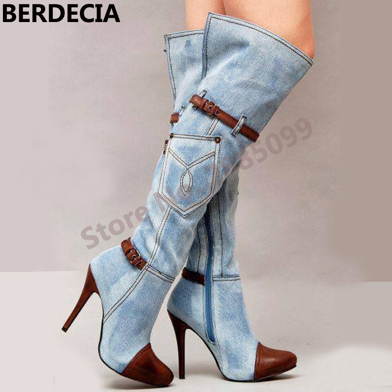 New Style Women Denim Leather Patchwork Keen-High Fashion Boots Buckles Thin High Heels Zip Gladiator Boots