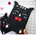 2016 3D Cartoon Black Cute Lucky Cat Funda Cover For Apple Ipad 234 Air 1 Air 2 Cat Soft Siilcone Case For Ipad Mini 1234 Coque