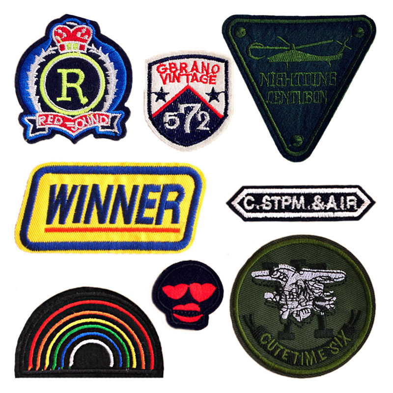 Skull Rainbow Crown Winner Letter Patch Embroidery Patch Stripe Iron on Patches Sewing Stickers for Clothes Army Military Badge image