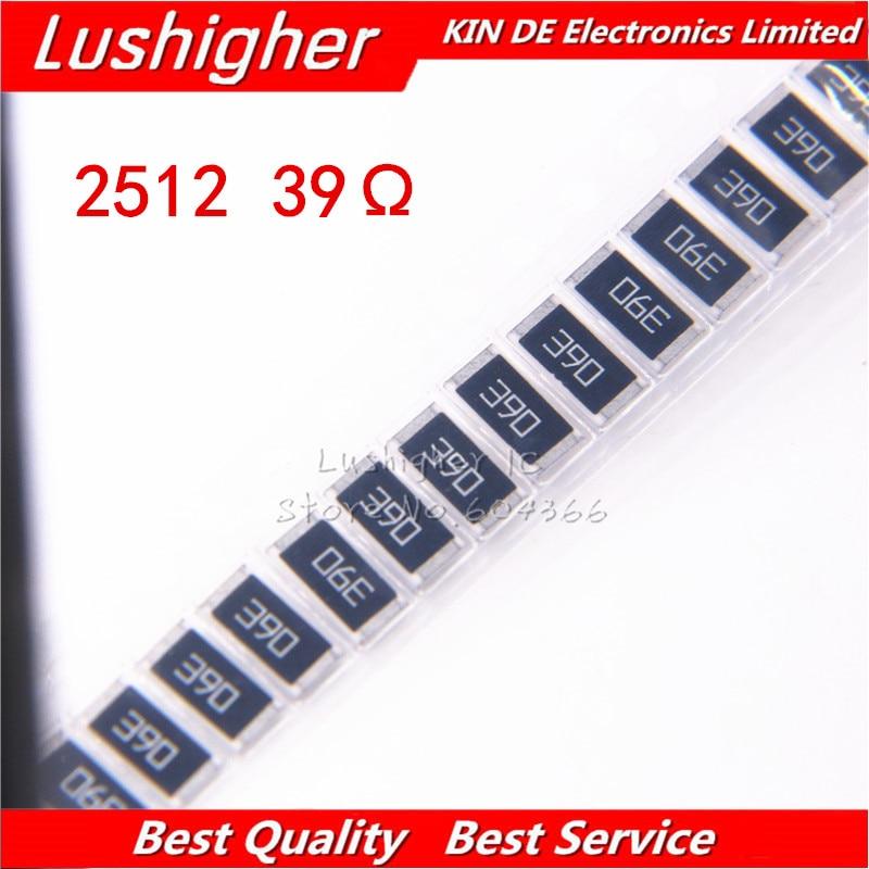 50PCS 2512 SMD Resistor 1W 5% 39R 39 Ohm 39ohm 390hm Marking: 390