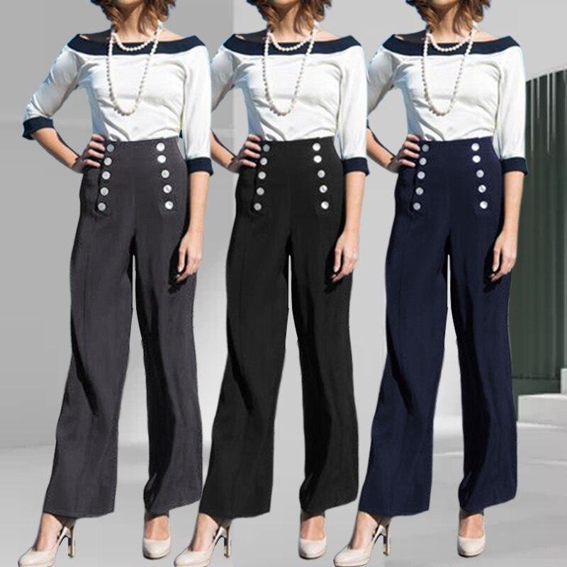 Celmia Women Elegant High Waist   Wide     Leg     Pants   2019 Causal Loose Long   Pants   Buttons Office Stretchy Trousers Plus Size Pantalone