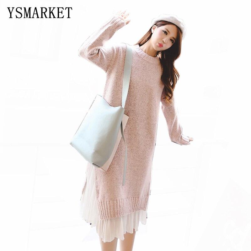 YSMARKET Autumn Women Knitted Sweater Dress Long Sleeve Pleated Chiffon Hem Patchwork Fake 2 Piece Pullover Loose Dresses E7373
