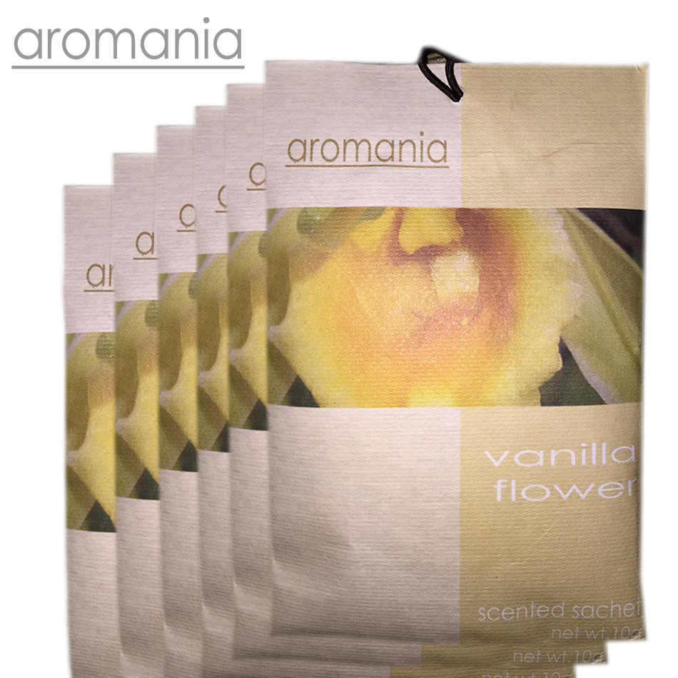 6PCS/lot Aromania Fresh Vanilla Flower Scented Sachet Fragrance Drawer Sachet Bag For Bedroom Car Flavor Fragrance Indian