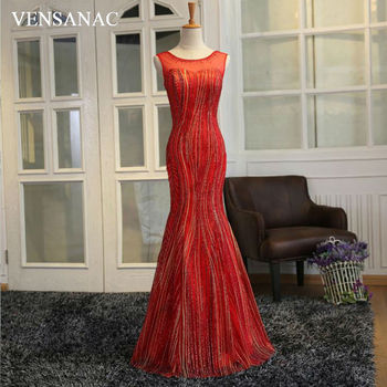 VENSANAC New 2018 Mermaid Sequined Embroidery O Neck Long Evening Dresses Sleeveless Elegant Lace Crystal Party Prom Gowns