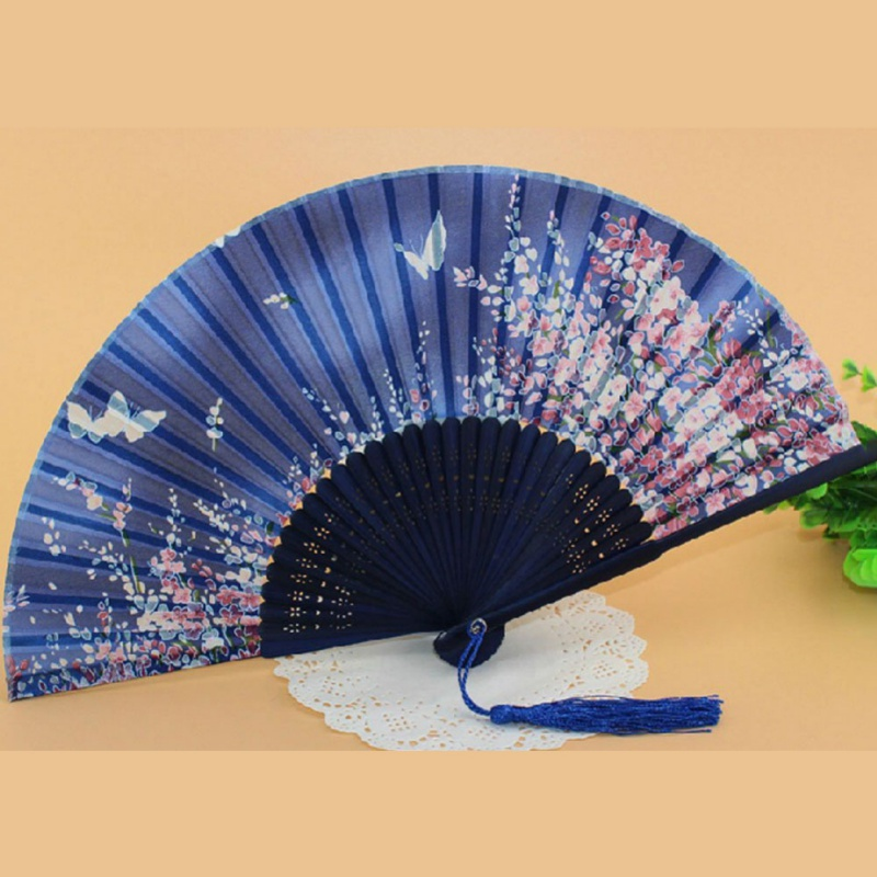Silk Chinese Fan Folding Hand Held Silk Bamboo Prints Fan Vintage Retro Style Handmade Blue Hand Fan
