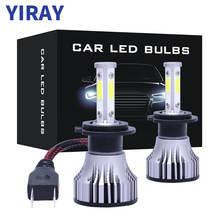 YIRAY New Car headlight Mini Lamp H7 H4 LED Bulbs H11 H13 Headlamps 9005 9006 6500k Fog light 12V 4 Side Lumens COB 52W