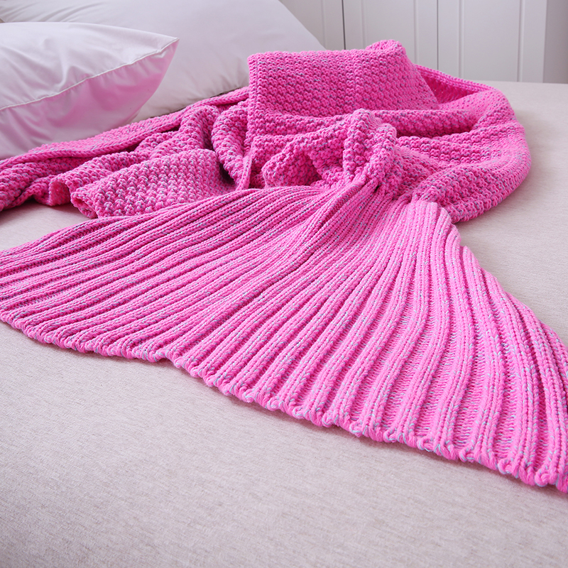 Slowdream Red Knitted Mermaid Tail Blanket For TV Sofa Bed Throw Blanket Keep Warm All Season Adult Kids Sleeping Bag Handmade in Blankets from Home Garden