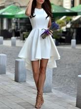 2016 heißer Verkauf Einfache Weiß Homecoming Kleid High Neck Sleeveless Asymmetrische Short Kleider mit Reißverschluss Zurück
