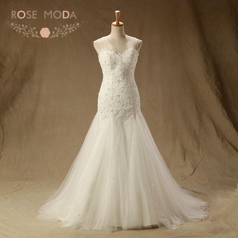 Backless Wedding Dresses 2019: Rose Moda Lace Mermaid Wedding Dress 2019 Backless Wedding
